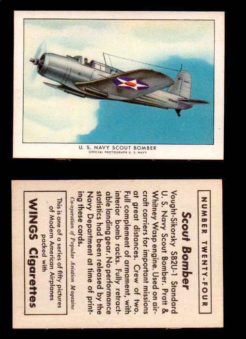 1940 Modern American Airplanes Series 1 Vintage Trading Cards Pick Singles #1-50 24 U.S. Navy Scout Bomber (Vought-Sikorsky SB2U-1)  - TvMovieCards.com