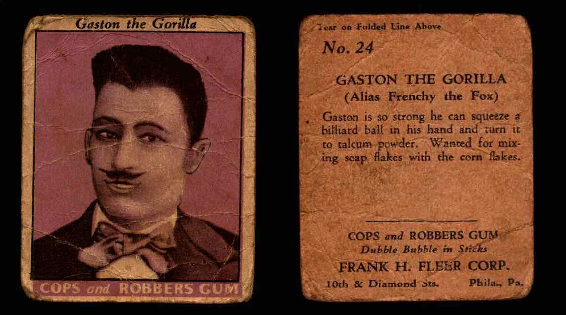 1935 Fleer Cops and Robbers Gum Vintage Trading Card #1-35 Singles #24 Gaston The Gorilla  - TvMovieCards.com