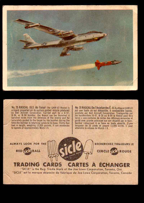 1959 Sicle Aircraft & Missile Canadian Vintage Trading Card U Pick Singles #1-25 #25 Rascal  - TvMovieCards.com
