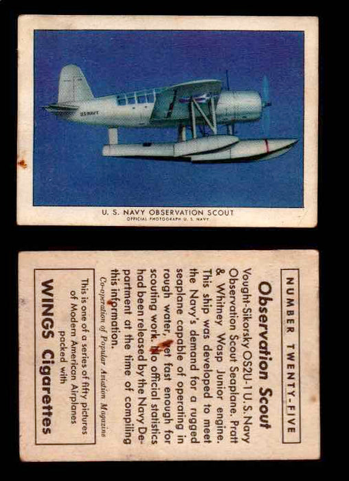 1940 Modern American Airplanes Series 1 Vintage Trading Cards Pick Singles #1-50 25 U.S. Navy Observation Scout (Vought-Sikorsky OS2U-1)  - TvMovieCards.com