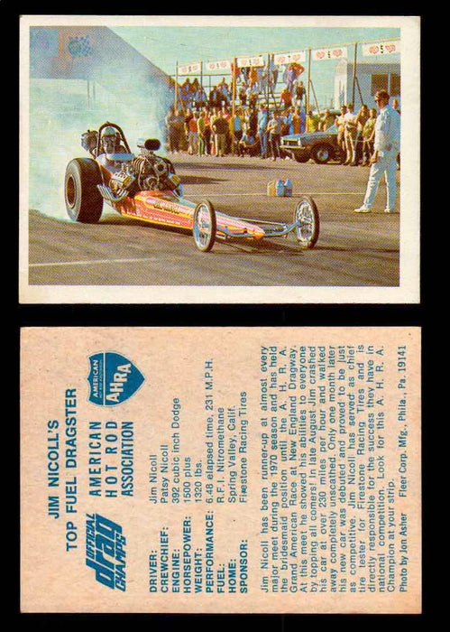 AHRA Official Drag Champs 1971 Fleer Vintage Trading Cards You Pick Singles 25   Jim Nicoll's                                     Top Fuel Dragster  - TvMovieCards.com