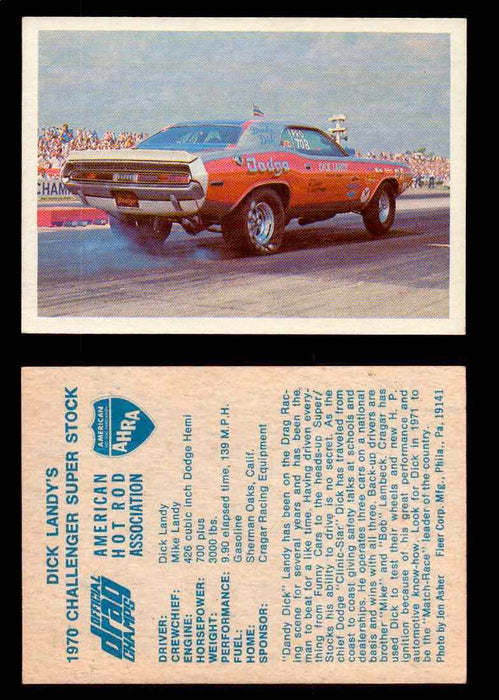 AHRA Official Drag Champs 1971 Fleer Vintage Trading Cards You Pick Singles 26   Dick Landy's                                     1970 Challenger Super Stock  - TvMovieCards.com