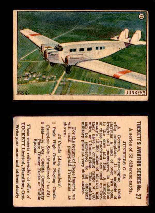 1929 Tucketts Aviation Series 1 Vintage Trading Cards You Pick Singles #1-52 #27 Junkers G 24  - TvMovieCards.com
