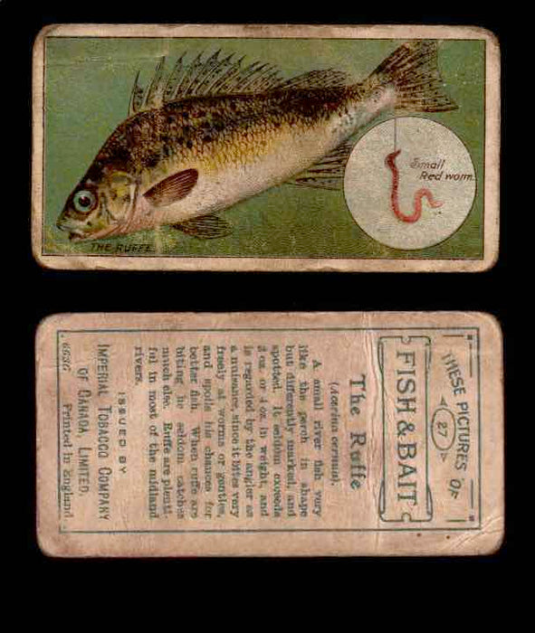 1910 Fish and Bait Imperial Tobacco Vintage Trading Cards You Pick Singles #1-50 #27 The Ruffe  - TvMovieCards.com