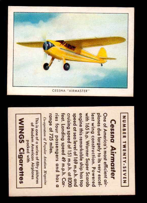 "1940 Modern American Airplanes Series 1 Vintage Trading Cards Pick Singles #1-50 27 Cessna ""Airmaster""  - TvMovieCards.com"