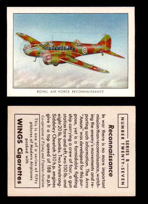 1941 Modern American Airplanes Series B Vintage Trading Cards Pick Singles #1-50 27	 	Royal Air Force Reconnaissance  - TvMovieCards.com
