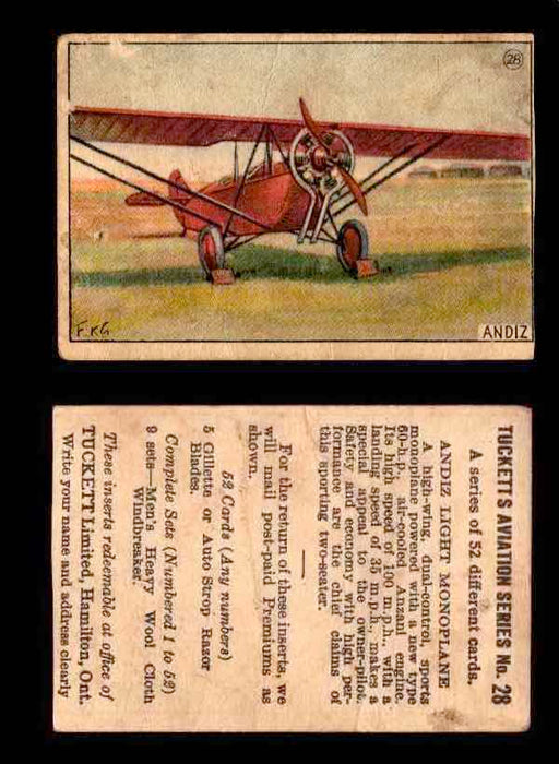 1929 Tucketts Aviation Series 1 Vintage Trading Cards You Pick Singles #1-52 #28 Andiz Light Monoplane  - TvMovieCards.com