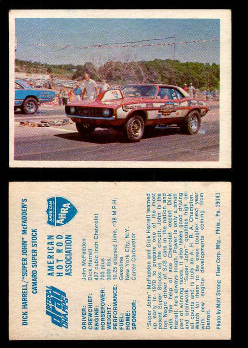 "AHRA Official Drag Champs 1971 Fleer Vintage Trading Cards You Pick Singles 28   Dick Harrell's ""Mr. Chevrolet""                   1970 Camaro Funny Car  - TvMovieCards.com"