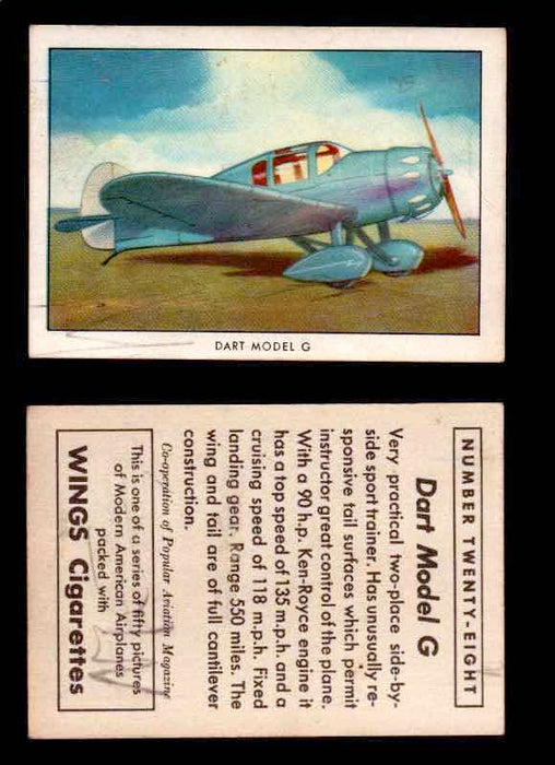1940 Modern American Airplanes Series 1 Vintage Trading Cards Pick Singles #1-50 28 Dart Model G  - TvMovieCards.com
