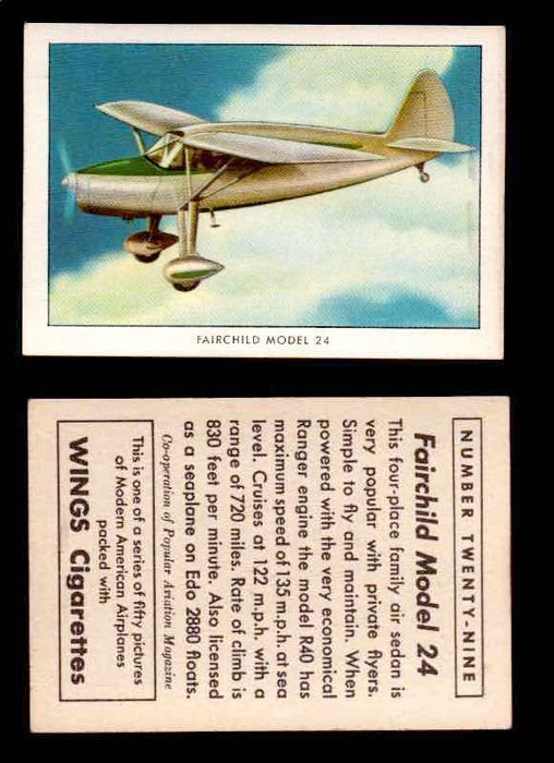 1940 Modern American Airplanes Series 1 Vintage Trading Cards Pick Singles #1-50 29 Fairchild Model 24  - TvMovieCards.com
