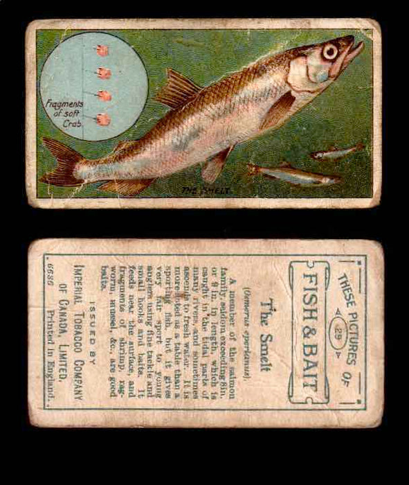 1910 Fish and Bait Imperial Tobacco Vintage Trading Cards You Pick Singles #1-50 #29 THe Smelt  - TvMovieCards.com