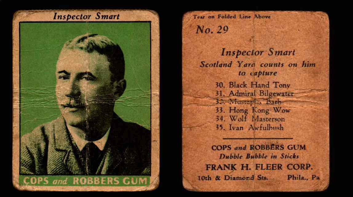 1935 Fleer Cops and Robbers Gum Vintage Trading Card #1-35 Singles #29 Inspector Smart  - TvMovieCards.com
