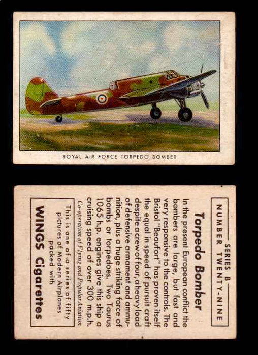 1941 Modern American Airplanes Series B Vintage Trading Cards Pick Singles #1-50 29	 	Royal Air Force Torpedo Bomber  - TvMovieCards.com