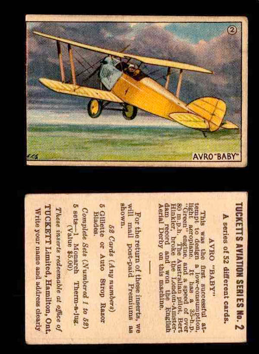 "1929 Tucketts Aviation Series 1 Vintage Trading Cards You Pick Singles #1-52 #2 Avro ""Baby""  - TvMovieCards.com"