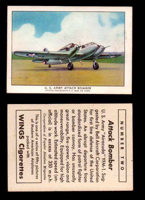 "1940 Modern American Airplanes Series 1 Vintage Trading Cards Pick Singles #1-50 2 U.S. Army Attack Bomber (Bell YFM-1 ""Airacuda"")  - TvMovieCards.com"