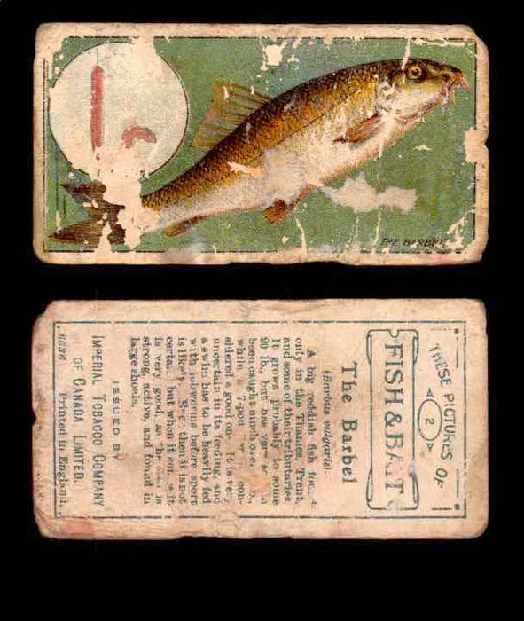 1910 Fish and Bait Imperial Tobacco Vintage Trading Cards You Pick Singles #1-50 #2 The Barbel  - TvMovieCards.com