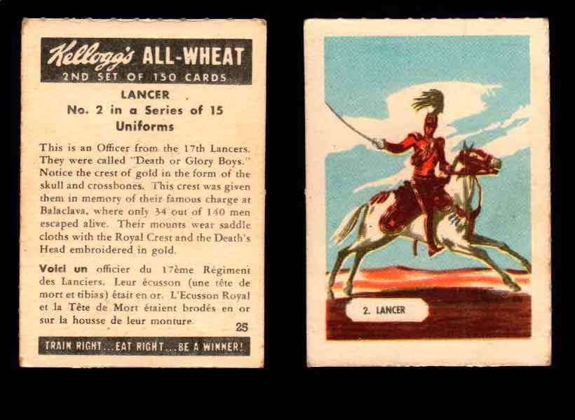 1946 Kelloggs All-Wheat Series 2 Uniforms Vintage Trading Cards #1-15 Singles #2 Lancer  - TvMovieCards.com