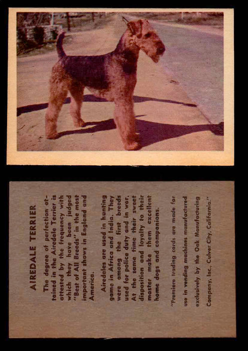 1957 Dogs Premiere Oak Man. R-724-4 Vintage Trading Cards You Pick Singles #1-42 #2 Airedale Terrier  - TvMovieCards.com