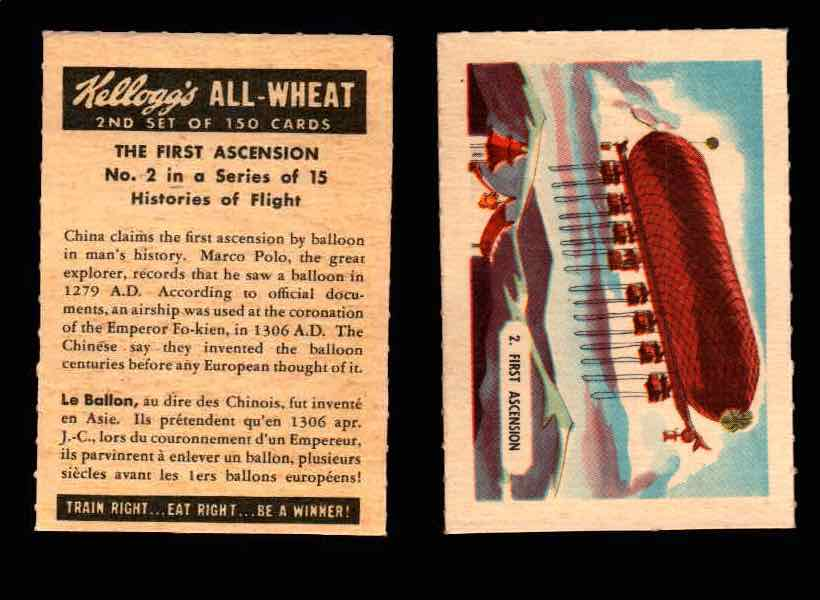 1946 Kelloggs All-Wheat Series 2 Histories of Flight Vintage Card #1-15 Singles #2 The First Ascension  - TvMovieCards.com