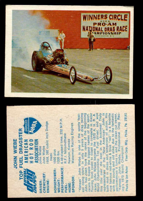 AHRA Official Drag Champs 1971 Fleer Vintage Trading Cards You Pick Singles 2   John Wiebe                                       Top Fuel Dragster  - TvMovieCards.com