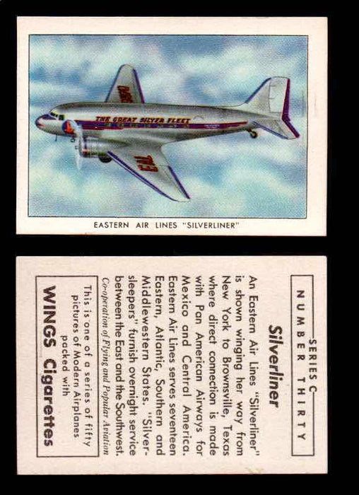 "1942 Modern American Airplanes Series C Vintage Trading Cards Pick Singles #1-50 30	 	Eastern Air Lines ""Silverliner""  - TvMovieCards.com"