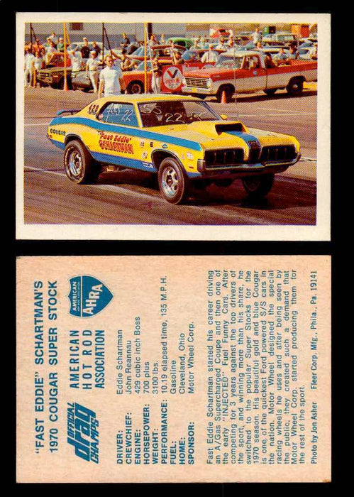 "AHRA Official Drag Champs 1971 Fleer Vintage Trading Cards You Pick Singles 30   ""Fast Eddie"" Schartman's                         1970 Cougar Super Stock  - TvMovieCards.com"