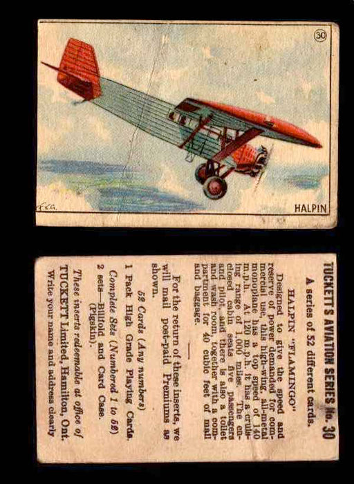 1929 Tucketts Aviation Series 1 Vintage Trading Cards You Pick Singles #1-52 #30 Halpin Flamingo  - TvMovieCards.com