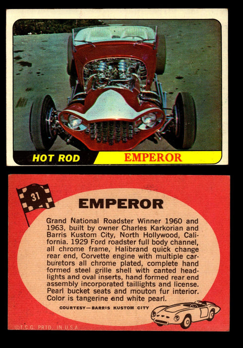 Hot Rods Topps 1968 George Barris Vintage Trading Cards You Pick Singles #31 Emperor  - TvMovieCards.com