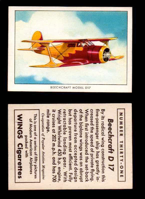1940 Modern American Airplanes Series 1 Vintage Trading Cards Pick Singles #1-50 31 Beechcraft D17  - TvMovieCards.com