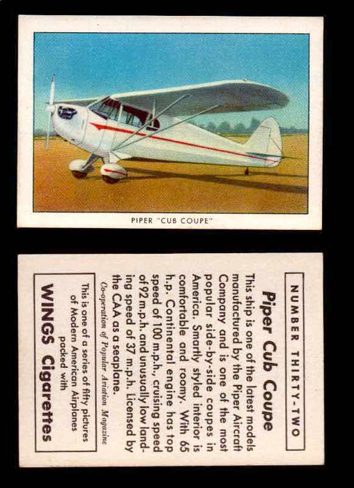 "1940 Modern American Airplanes Series 1 Vintage Trading Cards Pick Singles #1-50 32 Piper ""Cub Coupe""  - TvMovieCards.com"