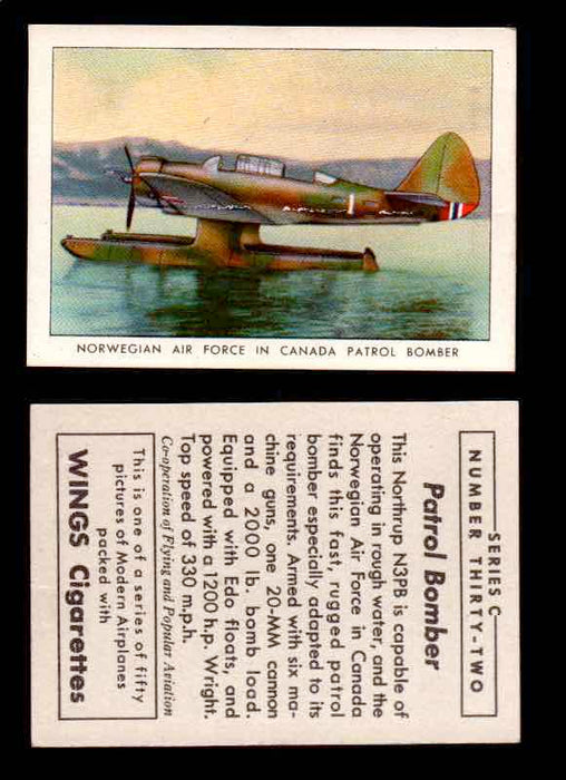 1942 Modern American Airplanes Series C Vintage Trading Cards Pick Singles #1-50 32	 	Norwegian Air Force In Canada Patrol Bomber UER  - TvMovieCards.com