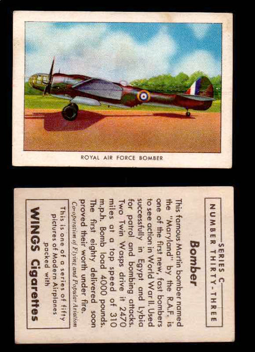 1942 Modern American Airplanes Series C Vintage Trading Cards Pick Singles #1-50 33	 	Royal Air Force Bomber  - TvMovieCards.com