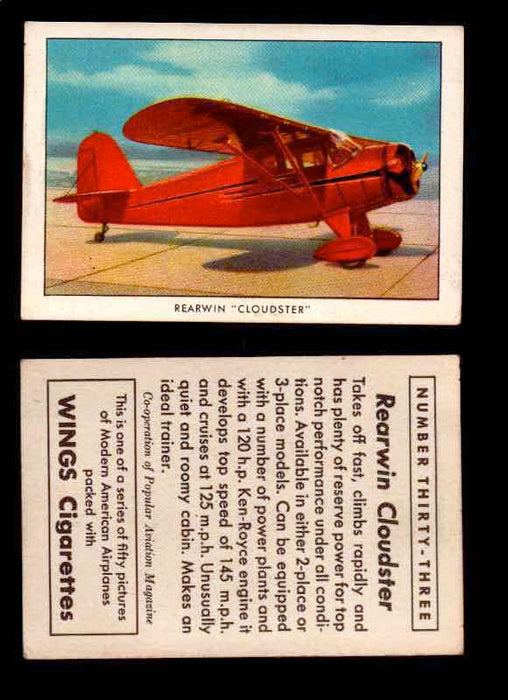"1940 Modern American Airplanes Series 1 Vintage Trading Cards Pick Singles #1-50 33 Rearwin ""Cloudster""  - TvMovieCards.com"