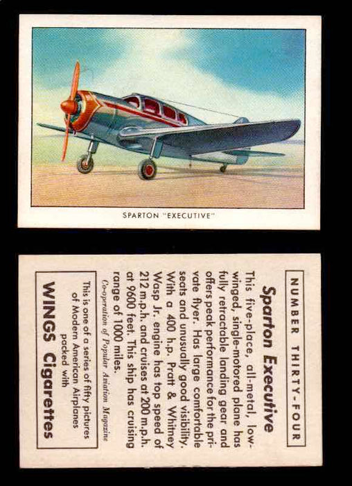 "1940 Modern American Airplanes Series 1 Vintage Trading Cards Pick Singles #1-50 34 Sparton ""Executive"" (error card)  - TvMovieCards.com"