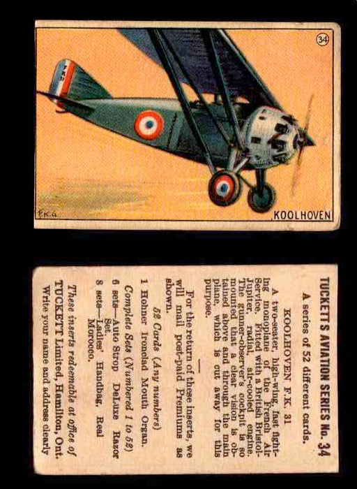 1929 Tucketts Aviation Series 1 Vintage Trading Cards You Pick Singles #1-52 #34 Koolhoven F.K. 31  - TvMovieCards.com