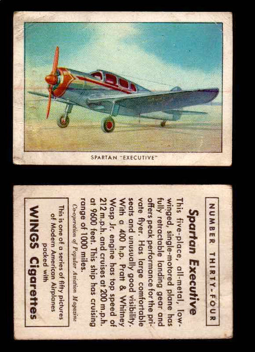 "1940 Modern American Airplanes Series 1 Vintage Trading Cards Pick Singles #1-50 34 Spartan ""Executive"" (corrected card)  - TvMovieCards.com"