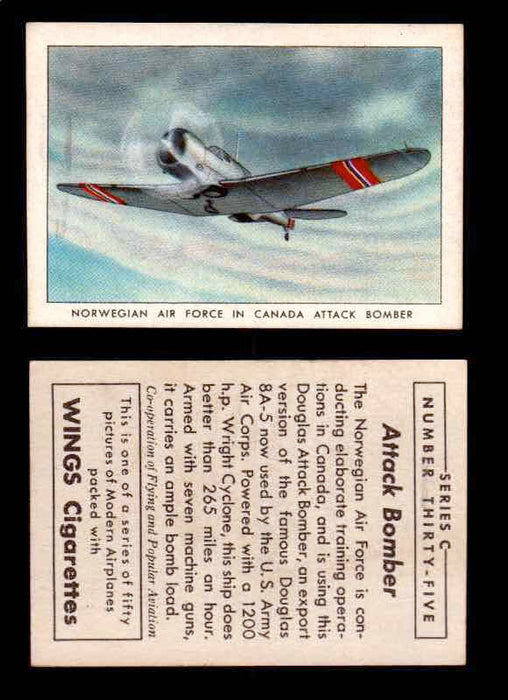 1942 Modern American Airplanes Series C Vintage Trading Cards Pick Singles #1-50 35	 	Norwegian Air Force In Canada Attack Bomber  - TvMovieCards.com