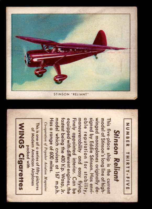 "1940 Modern American Airplanes Series 1 Vintage Trading Cards Pick Singles #1-50 35 Stinson ""Reliant""  - TvMovieCards.com"