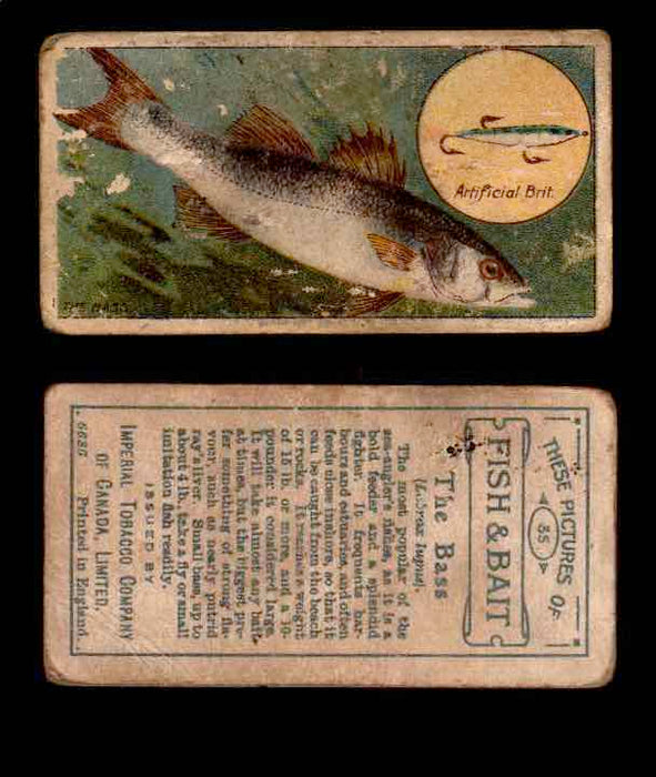 1910 Fish and Bait Imperial Tobacco Vintage Trading Cards You Pick Singles #1-50 #35 The Bass  - TvMovieCards.com