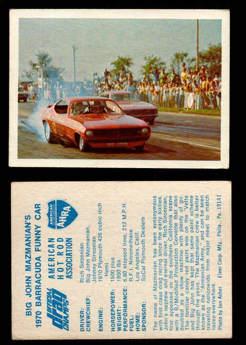 "AHRA Official Drag Champs 1971 Fleer Vintage Trading Cards You Pick Singles 35   ""Big John"" Mazmanian's                           1970 Barracuda Funny Car  - TvMovieCards.com"