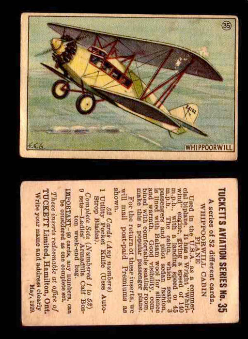 1929 Tucketts Aviation Series 1 Vintage Trading Cards You Pick Singles #1-52 #35 Whippoorwill Cabin Plane  - TvMovieCards.com