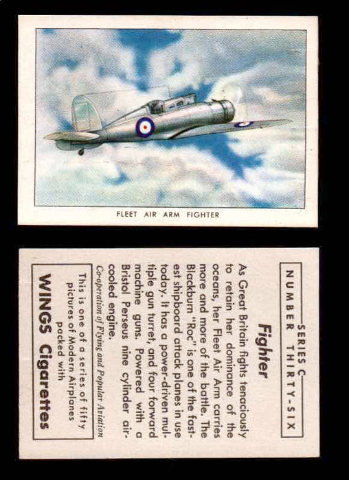 1942 Modern American Airplanes Series C Vintage Trading Cards Pick Singles #1-50 36	 	Fleet Air Arm Fighter  - TvMovieCards.com