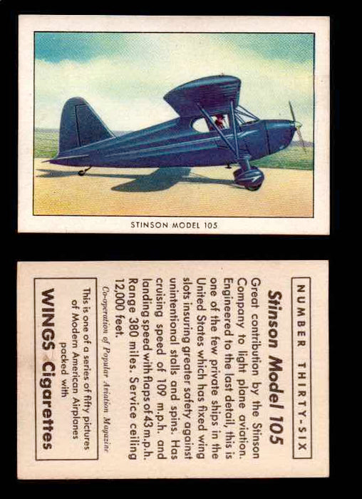 1940 Modern American Airplanes Series 1 Vintage Trading Cards Pick Singles #1-50 36 Stinson Model 105  - TvMovieCards.com