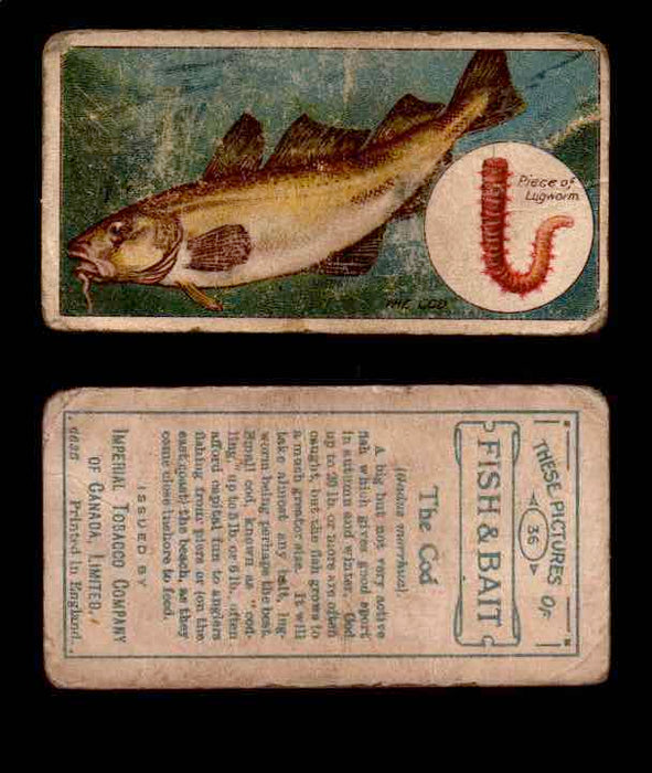 1910 Fish and Bait Imperial Tobacco Vintage Trading Cards You Pick Singles #1-50 #36 The Cod  - TvMovieCards.com
