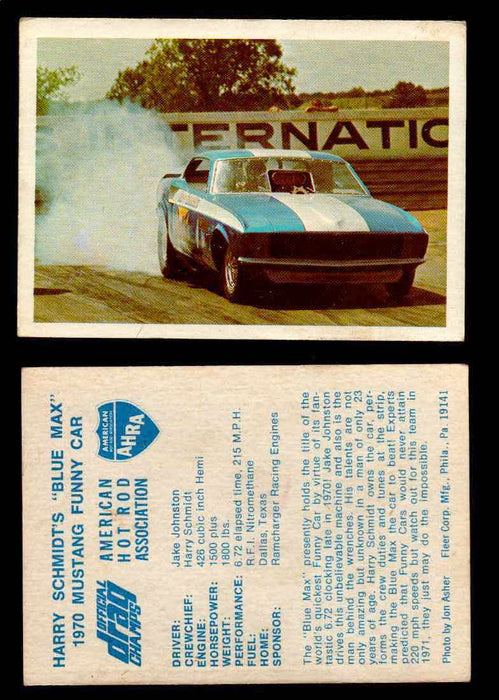 "AHRA Official Drag Champs 1971 Fleer Vintage Trading Cards You Pick Singles 37   Harry Schmidt's ""Blue Max""                       1970 Mustang Funny Car  - TvMovieCards.com"