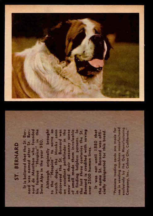 1957 Dogs Premiere Oak Man. R-724-4 Vintage Trading Cards You Pick Singles #1-42 #37 St. Bernard  - TvMovieCards.com