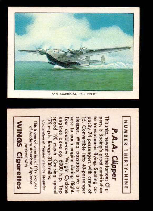 "1940 Modern American Airplanes Series 1 Vintage Trading Cards Pick Singles #1-50 39 Pan American ""Clipper"" (Boeing Clipper)  - TvMovieCards.com"
