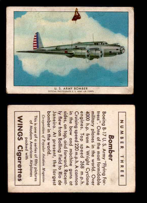 "1940 Modern American Airplanes Series 1 Vintage Trading Cards Pick Singles #1-50 3 U.S. Army Bomber (Boeing B-17 ""Flying Fortress"")  - TvMovieCards.com"
