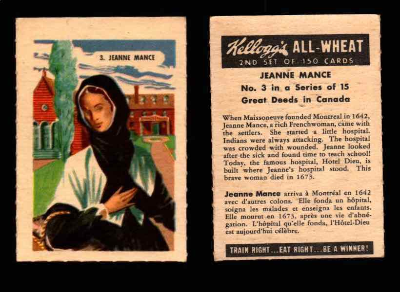 1946 Kelloggs All-Wheat Series 2 Great Deeds in Canada Vintage Card #1-15 Singles #3 Jeanne Mance  - TvMovieCards.com
