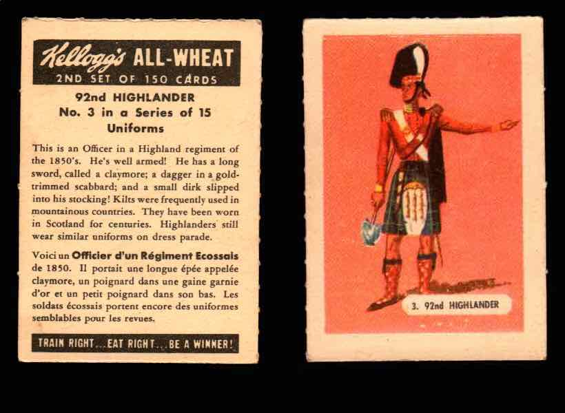1946 Kelloggs All-Wheat Series 2 Uniforms Vintage Trading Cards #1-15 Singles #3 92nd Highlander  - TvMovieCards.com